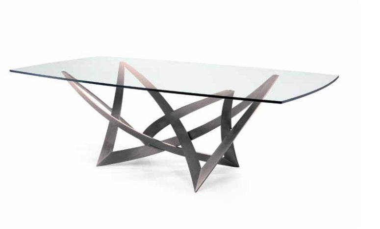 Infinito 72 Grafite Italian Luxury dining table with glass top