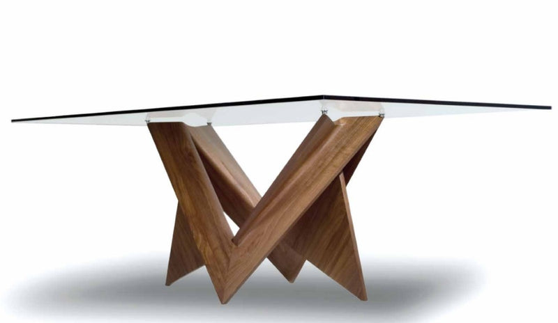 Mathematique 72 Dining table with glass top sculptural wooden base made in Italy by Reflex