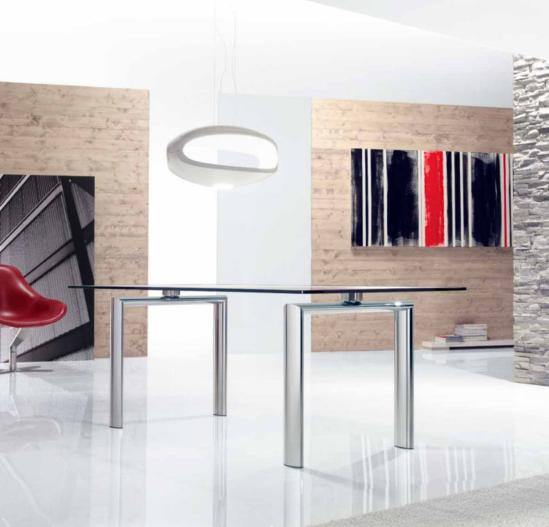 Policleto Fisso - Modern high end glass topped dining table by Reflex  made in Italy