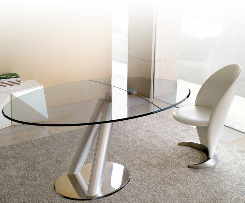 Policleto Jazz - High end modern expandable glass dining table by Reflex made in Italy