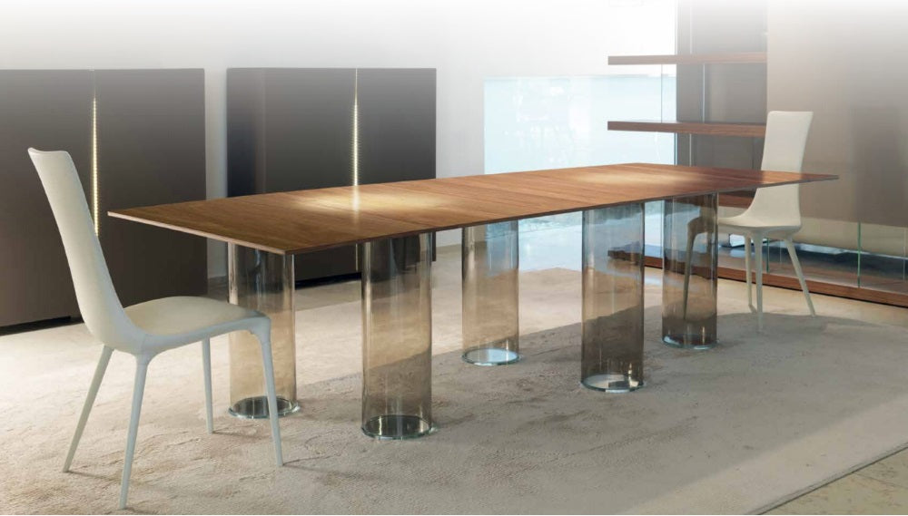 Signore Degli Anelli 72 - Dining table with glass top and Murano glass legs made by Reflex   design Luxury