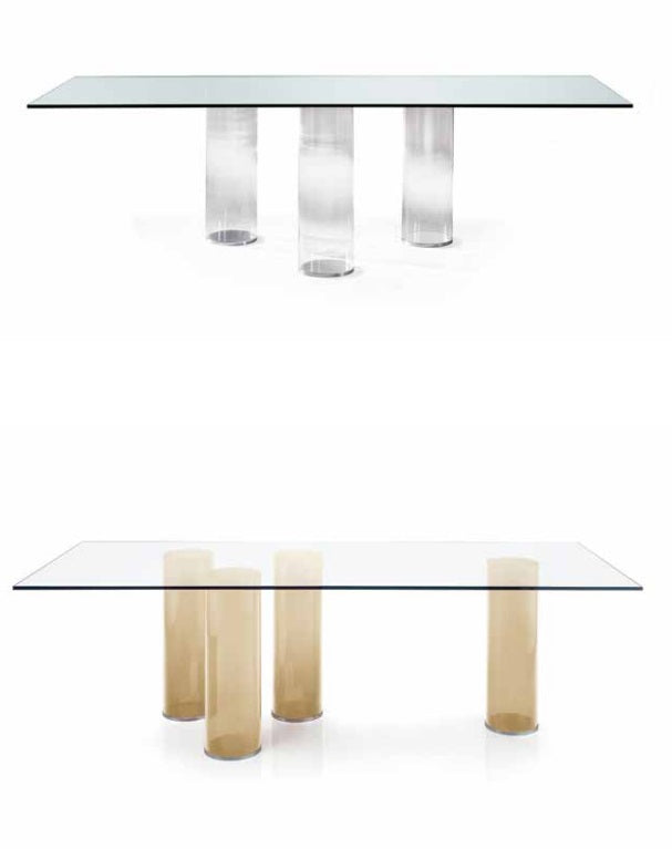 Signore Degli Anelli 72 dining tables with two versions of Murano glass bases