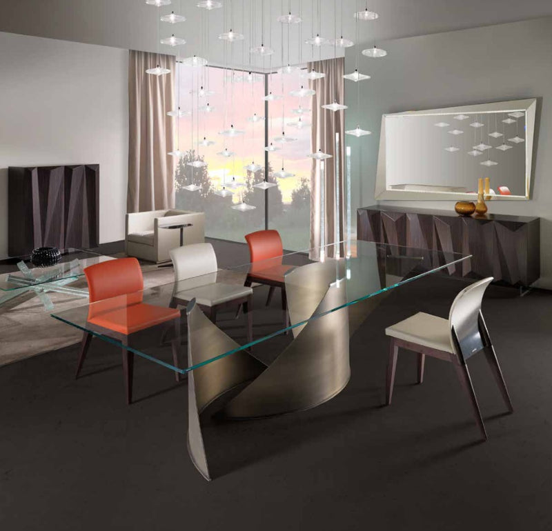 Vele 72 - Luxury Dining table with glass  top made in Italy  by Reflex