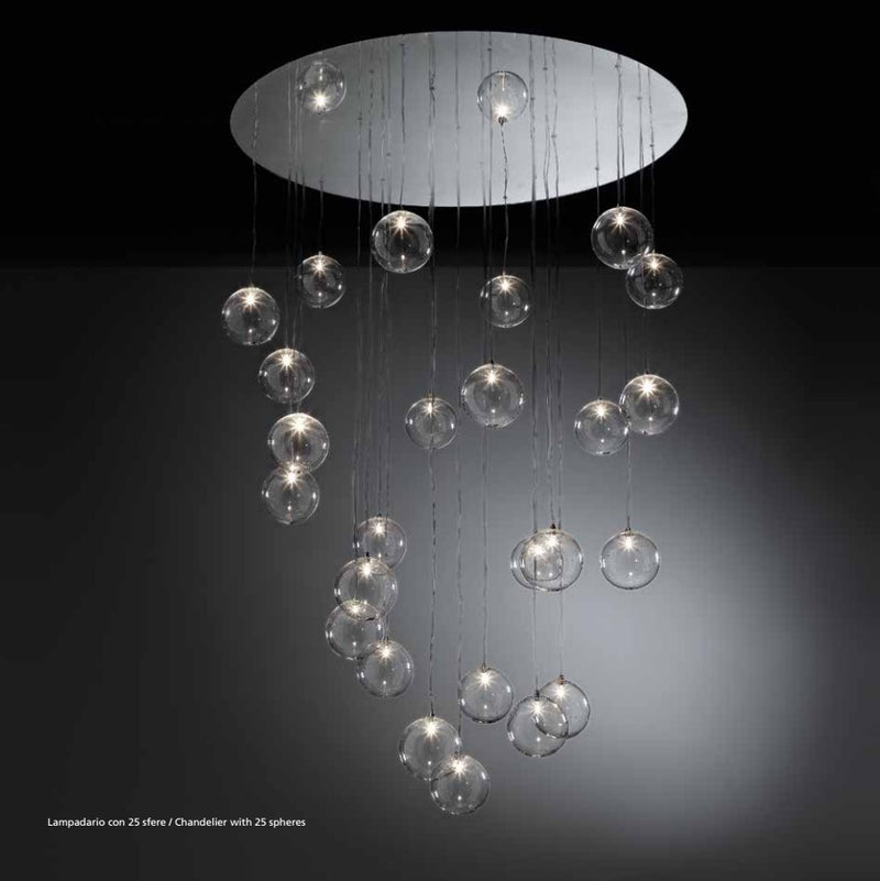 View of Bulles Lampadario Chandelier by Reflex on a Black Background