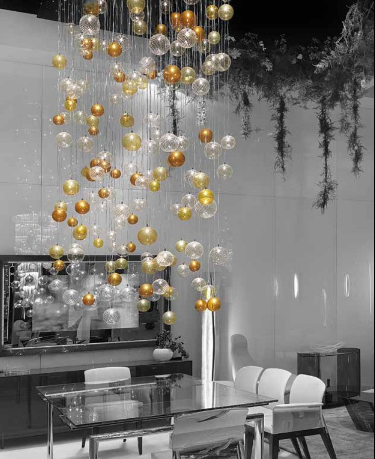 Colored Blown Glass Spheres on Italian Chandelier made by Reflex