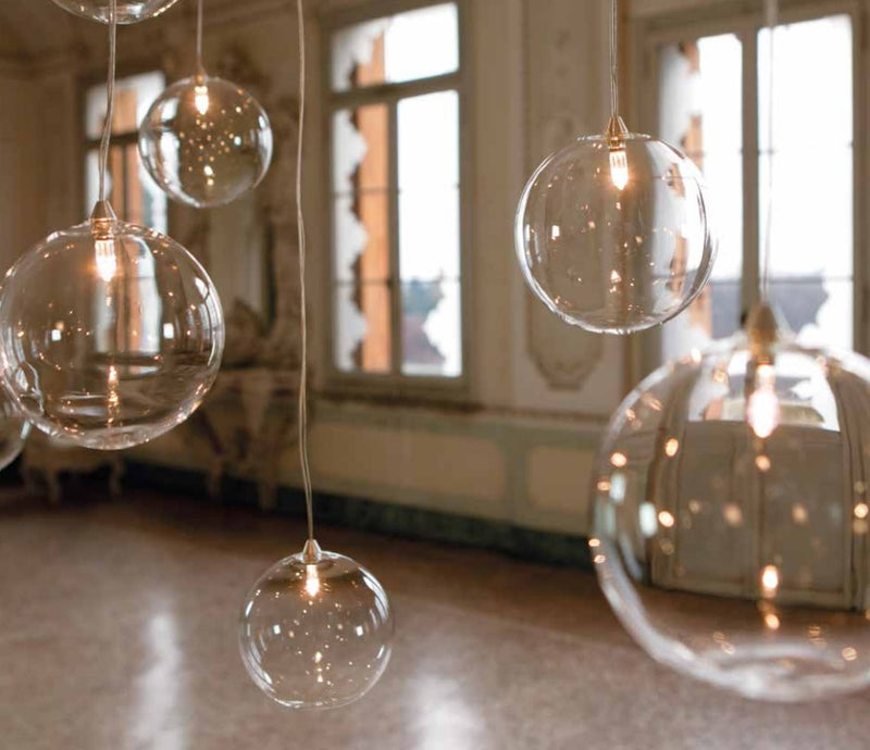 Blown Italian Glass Spheres with light reflecting inside
