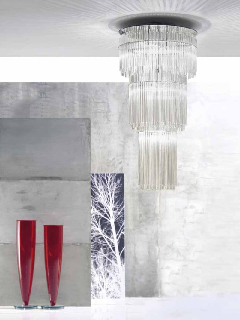 cascading glass chandelier