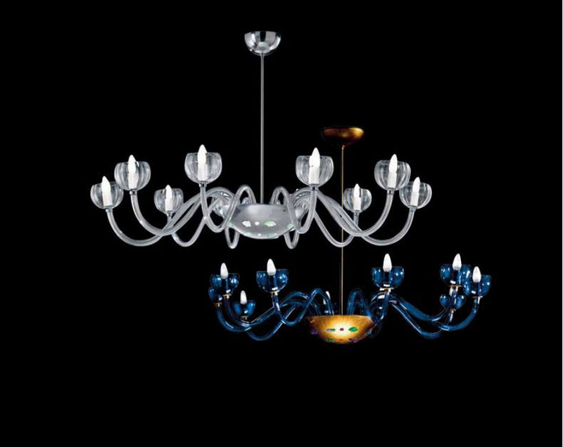 Uccello Di Fuoco Collection  chandelier in blue and white Murano glass