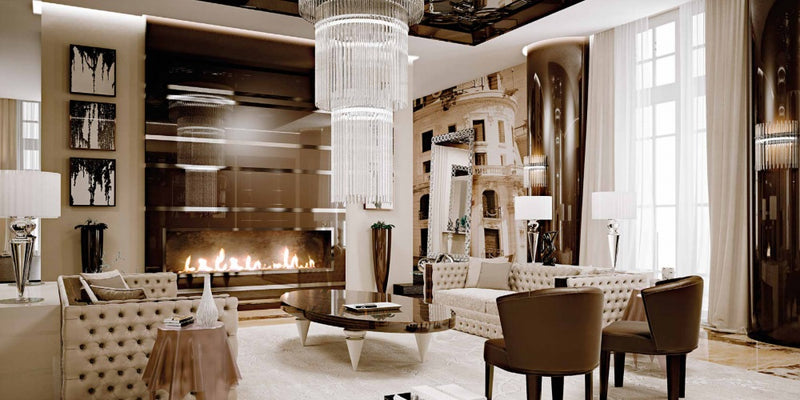 modern Italian living room with luxury designer furniture