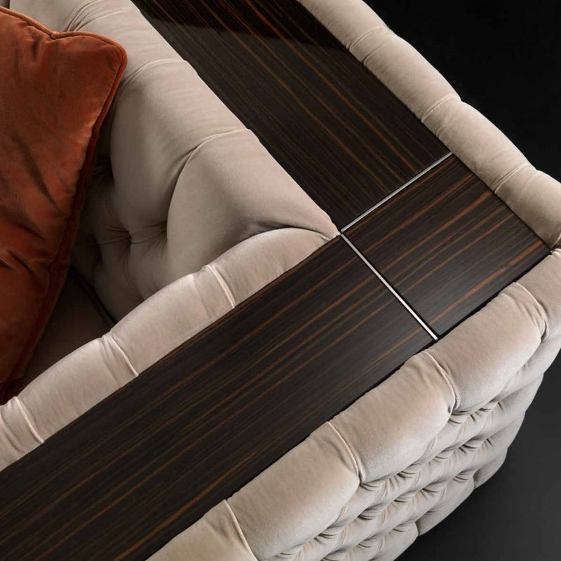close view of the Ca' D'Oro Sofa Collection wood grain