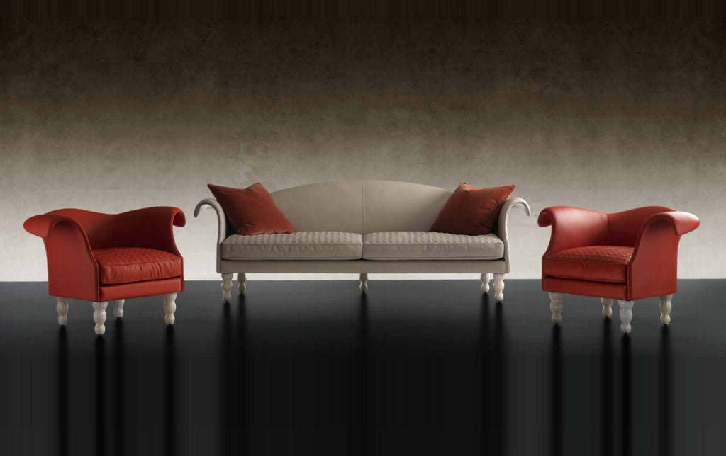 Casanova Sofa Collection - Sofa with murano  glass legs and quilting by  Reflex