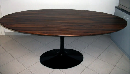 Eero Saarinen Dining Table with dark wood top