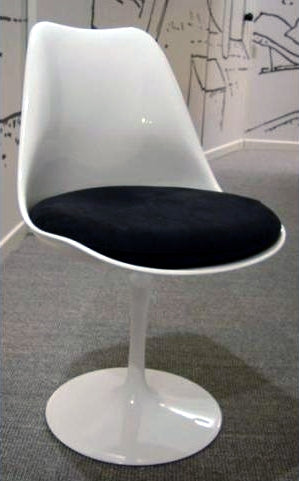 White Dining chair with black seat made in Italy
