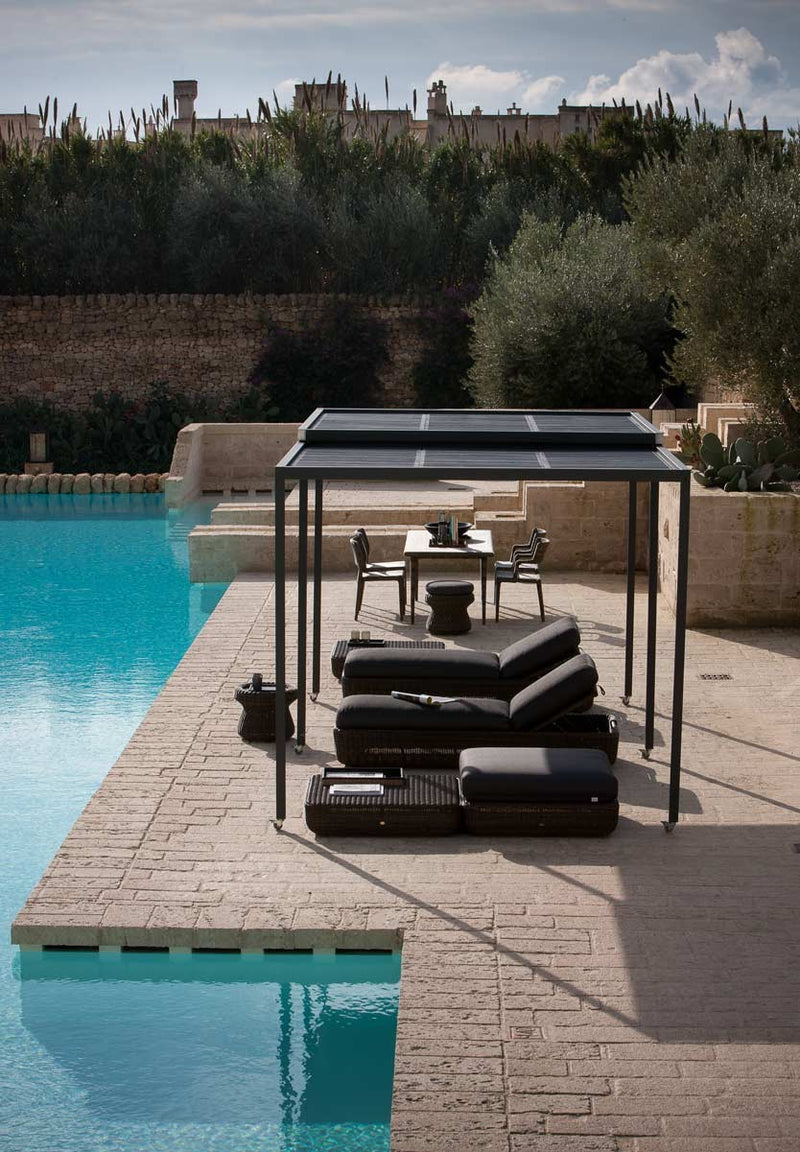 Outdoor furniture shaded by Pergola