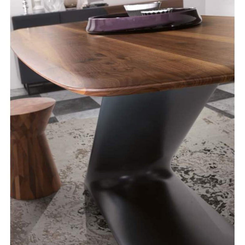 Close view of designer Italian table and stool