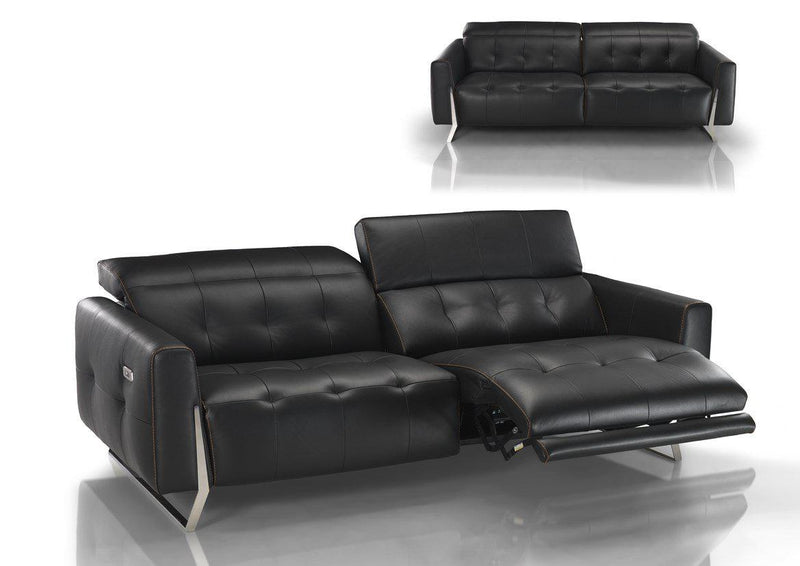 Conforto Recliner - black Leather sofa with recliners made in Italy