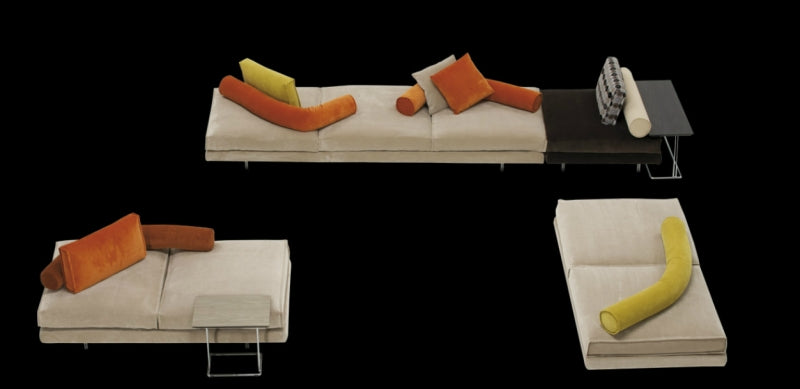 View of all separate pieces to the Luxury modern modular sofa by Il Loft made in Italy