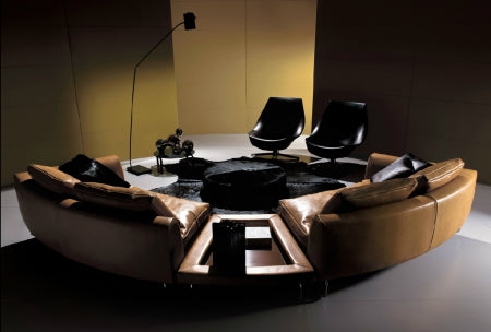 Modern Luxury round  leather sectional by I4Mariani made in Italy