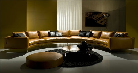 Front view of Modern Luxury round  leather sectional by I4Mariani made in Italy