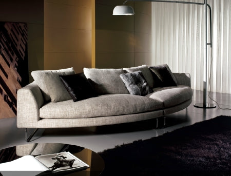 Modern Luxury round white leather sectional by I4Mariani made in Italy