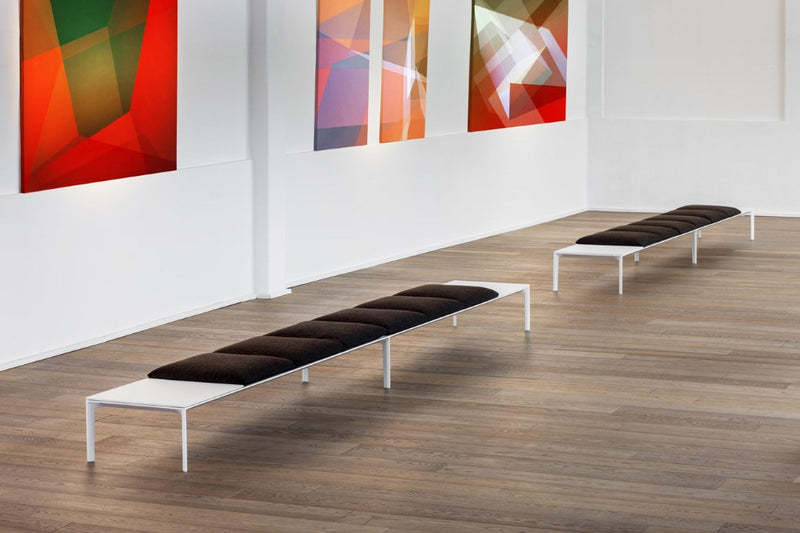 flat sofa benches in front of modern art pieces