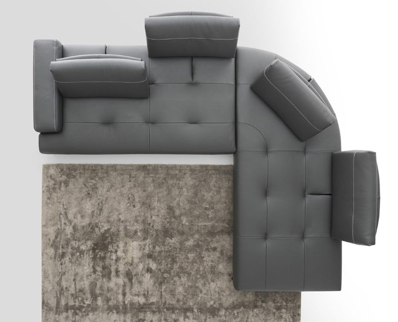 Overhead view of Italian sofa with adjustable backrests