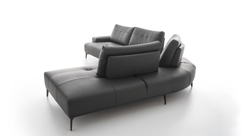 Rear view of black leather sofa