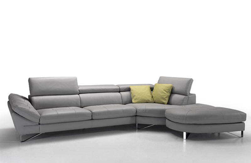 Fiorentino Sectional - Grey leather Italian sofa