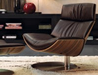 Kara Chair - Modern Swiveling sofa chair with wood back by Desiree made in Italy
