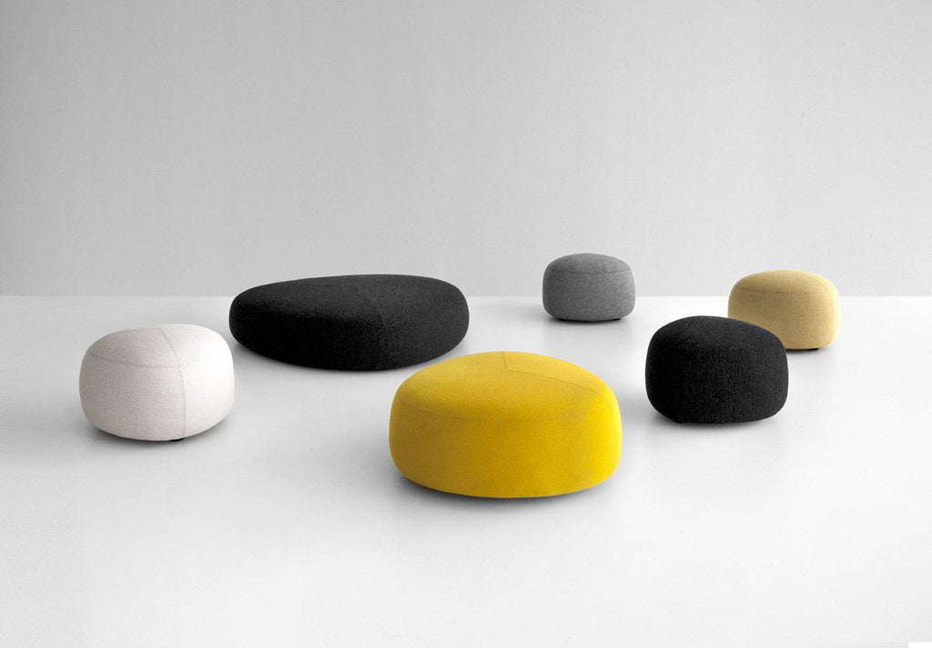 Series of Kipu ottomans in different shapes and colors by Lapalma and made in Italy