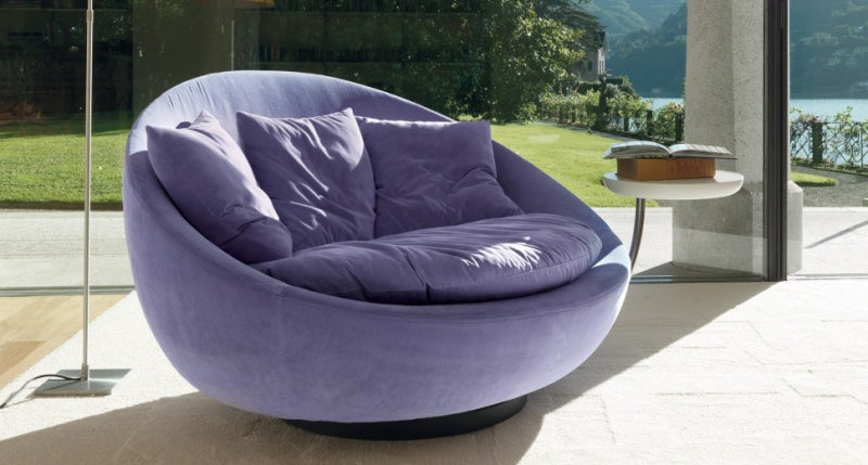 purple round swivel chair made in Italy