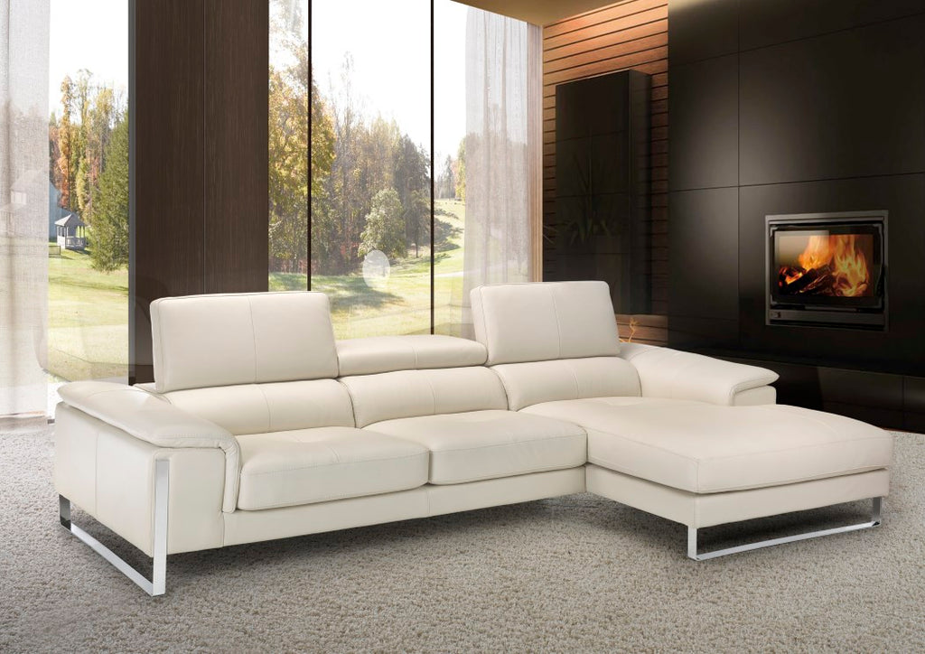 white leather sectional Italian sofa