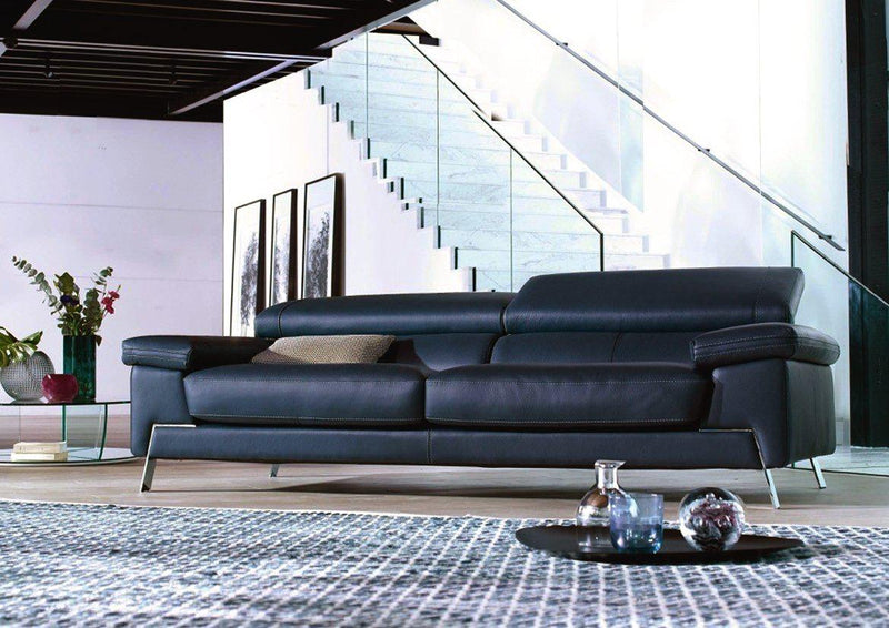 Recline Sofa - black sofa with adjustable  headrests  made in Italy