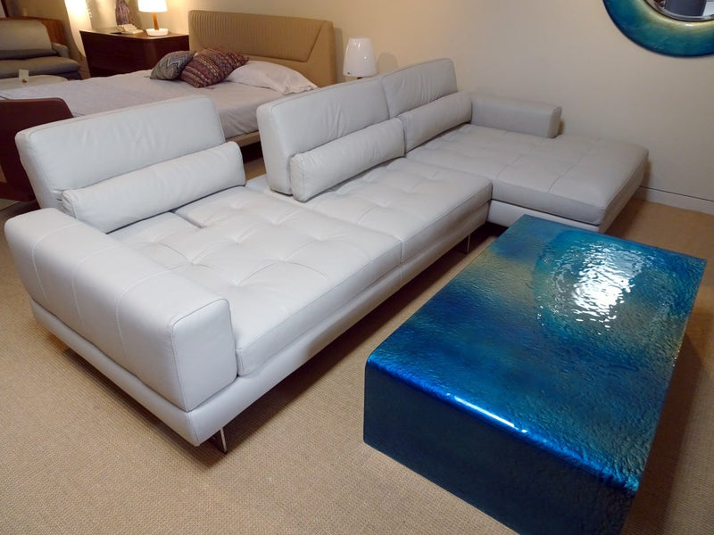 Slide Sectional - white leather sofa made in Italy