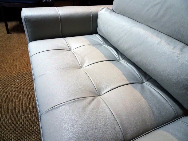 close view of Italian leather sofa's cushions
