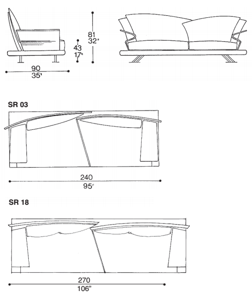 Measurements of luxury sofa designed by Giorgio Saporiti |  Il Loft made in Italy