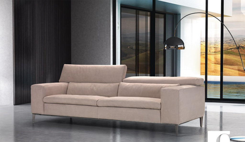 modern  Italian sofa  with  feather filled  cushions