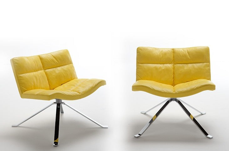 Two Wave Soft Chairs in yellow leather made in Italy