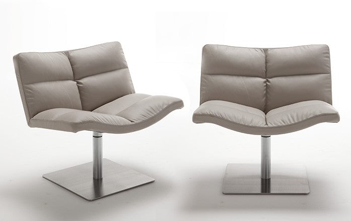 two designer Italian swivel chairs in grey leather