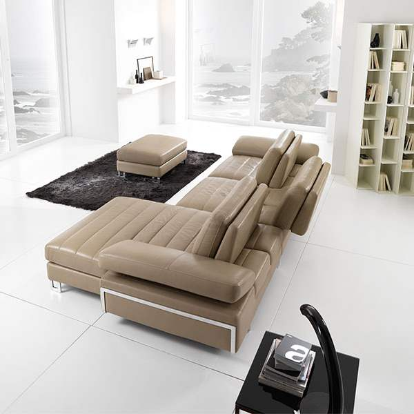Stallone Sectional Sofa - Leather sectional made in Italy with adjustable  backs made in Italy