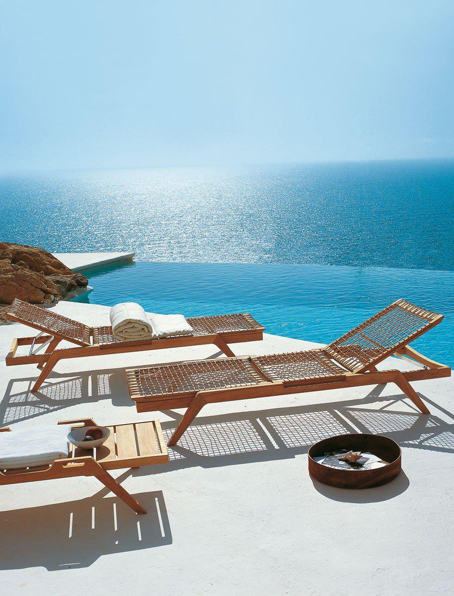 Teak Synthesis Sun Lounger designed by Unopiú
