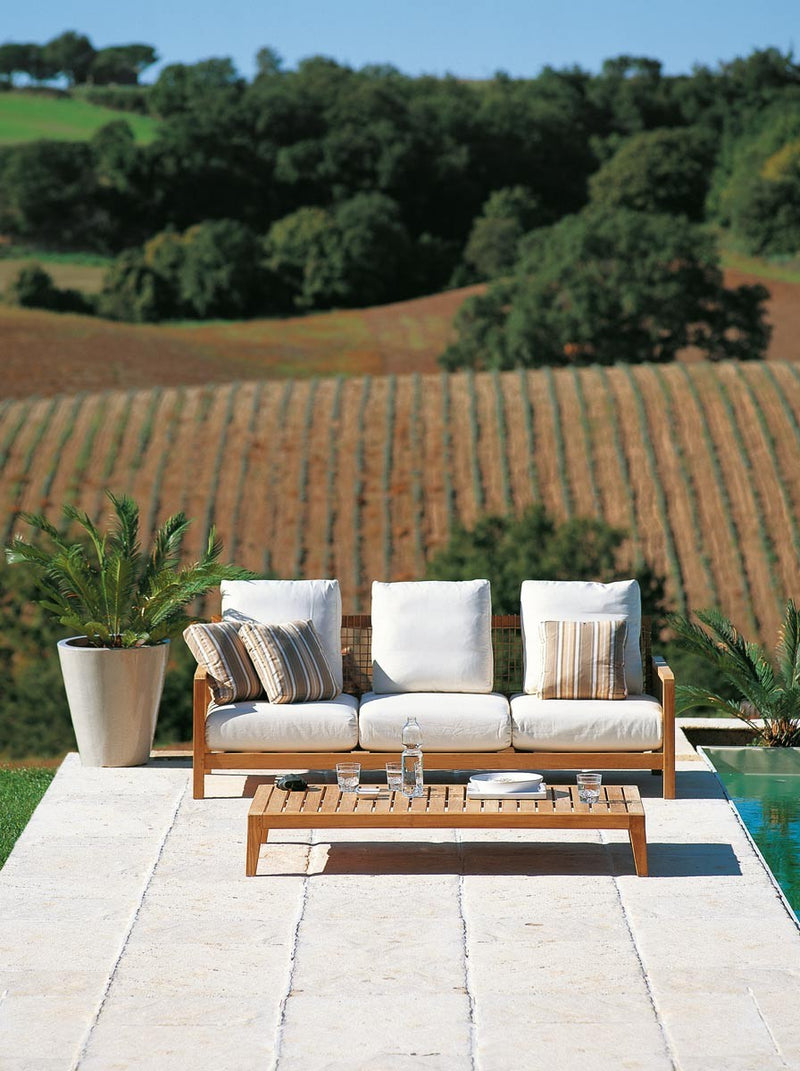 Synthesis Sofa with Tuscan hillside behind it