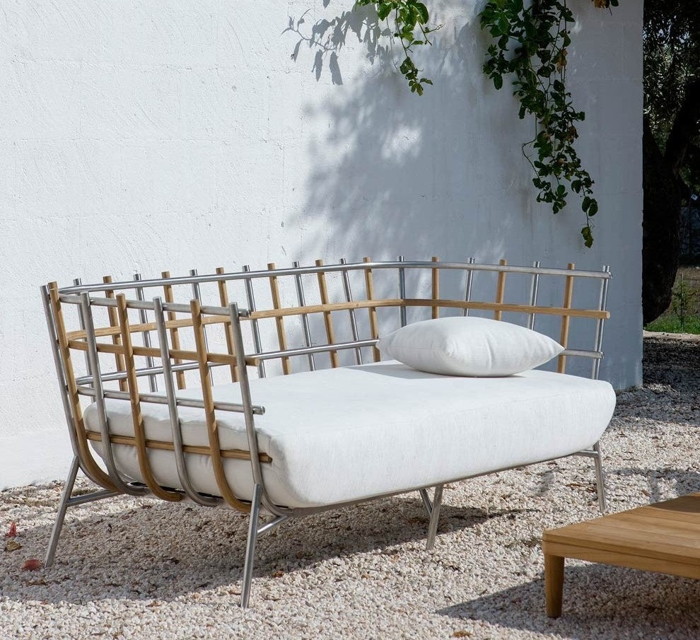 Tweed Sofa - Outdoor sofa with  teak and stainless steel by Unopiu