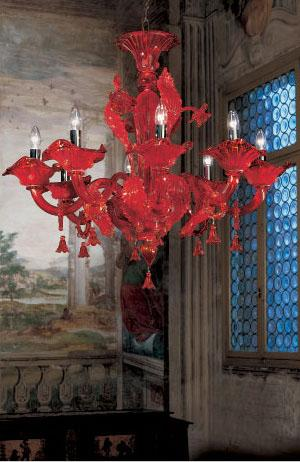 Veneziano Red Glass Chandelier - italydesign.com
