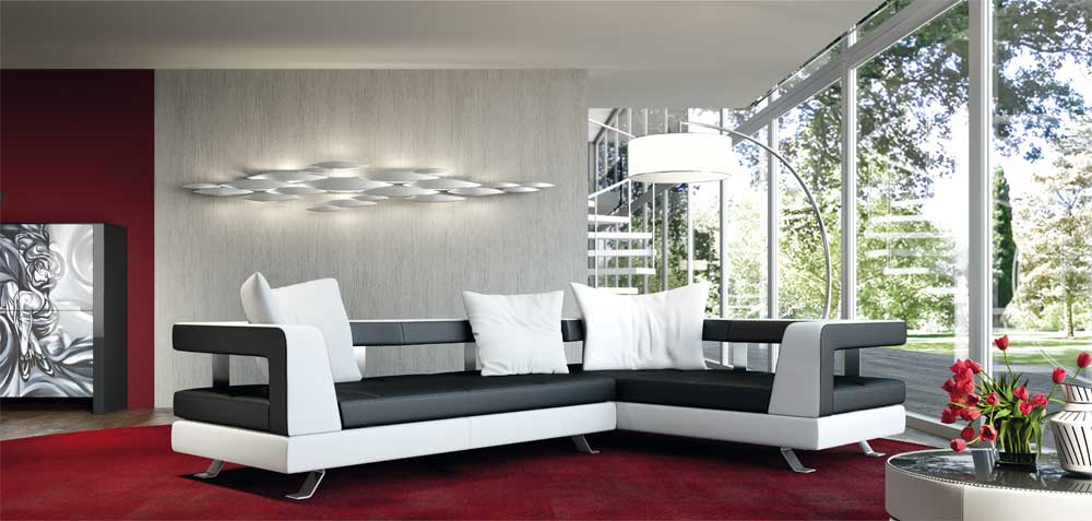 White and Black Leather Wave Sectional Sofa by Formenti