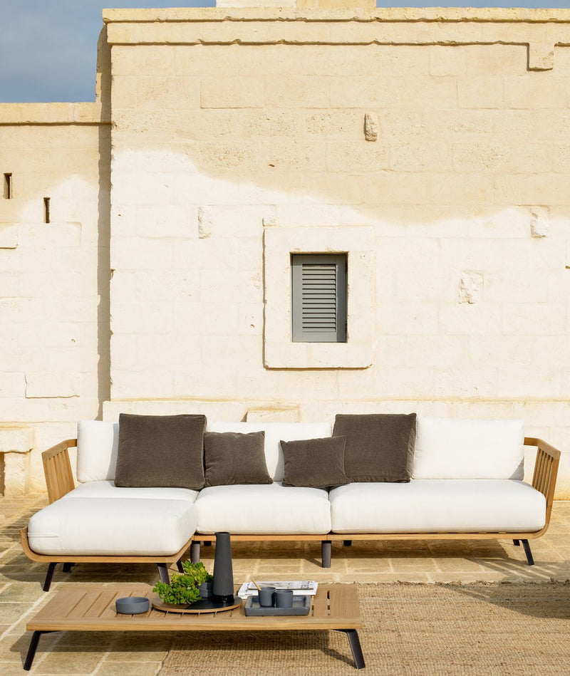 white italian sofa on rooftop lounge in Italy