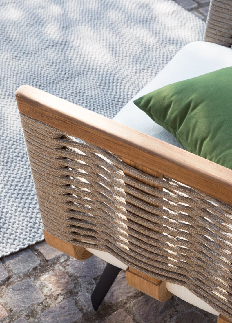 Close view of detailed wood work on Italian outdoor sofa
