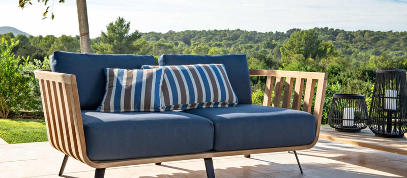 Blue outdoor Italian sofa by Unopiu