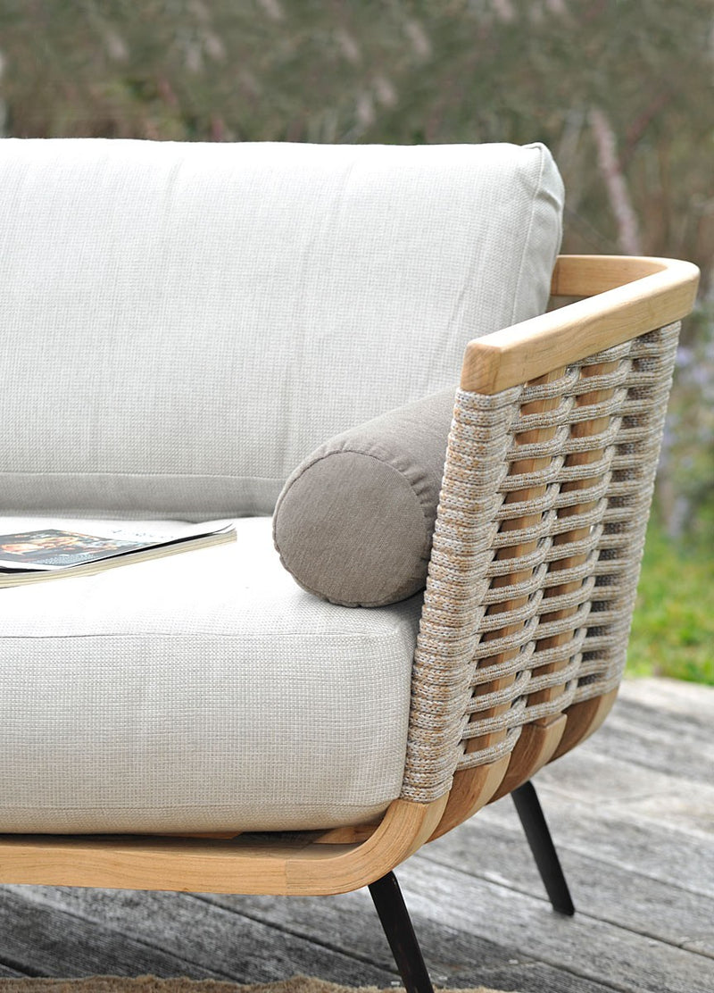 Side view of white Italian outdoor sofa