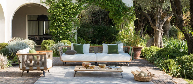 Outdoor Italian furniture in Italian courtyard